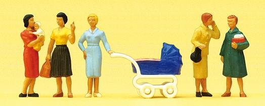 Kinderwagen Preiser 10494 H0 Eltern mit Kindern